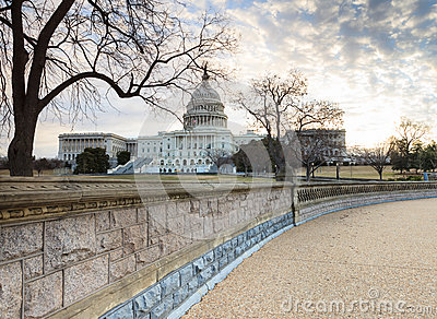 US Capitol Building Washington DC from Stone Retaining Wall