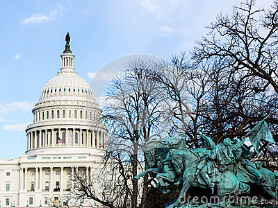 US Capitol and statue