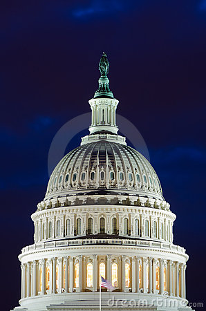 US Capitol dome in cloudy twilight, Washington DC