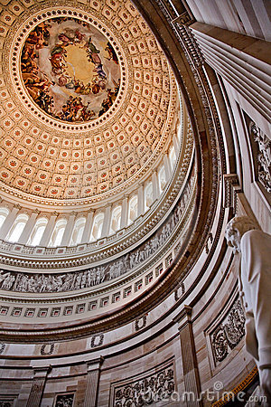 US Capitol Dome Rotunda Lincoln Statue Washington