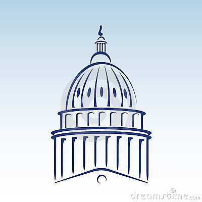 US Capitol Dome Vector Illustration