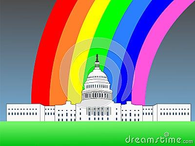 US capitol with rainbow