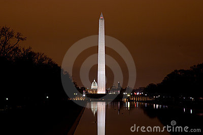US Capitol and Washington Monument in the darkness