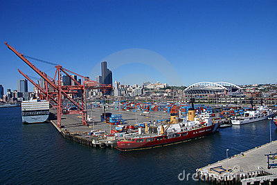 US Coast Guard ship on Seattle waterfront Editorial Photo