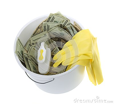US Currency in Bucket, scrub brush, gloves