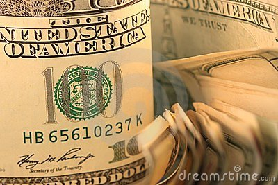 US Currency One Hundred Dollar Bills.