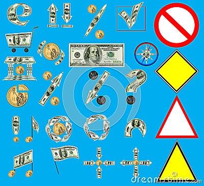 US Dollar as web, multimedia signs set