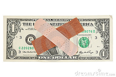 US dollar bill with bandages