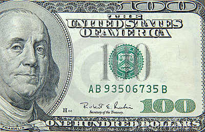 US dollar one hundred bill