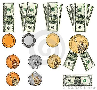 US dollars as medals, ribbon awards. Isolated