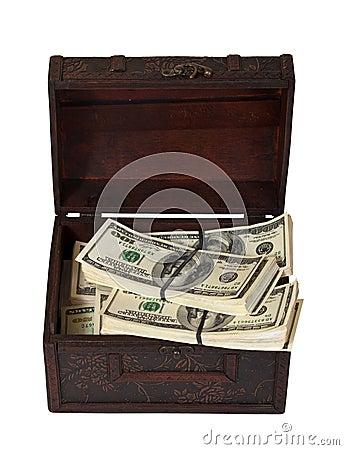 US dollars banknotes in treasure  trunk