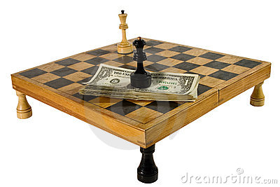 US dollars and chess figures