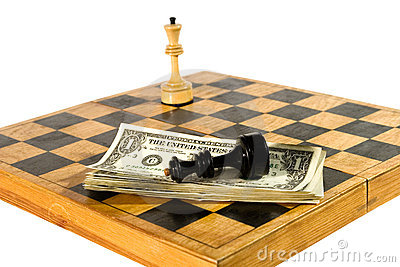 US dollars and chess figures on a chessboard