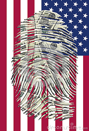 US Dollars Finger and American Flag