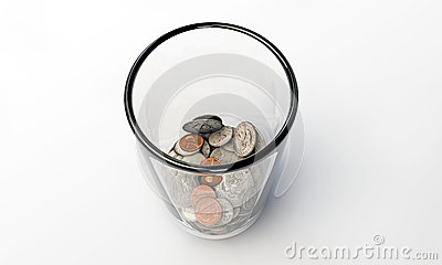 Us dollars in a glass