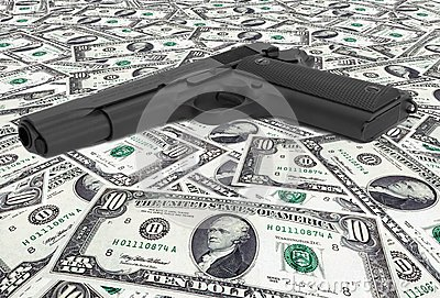 US dollars with gun