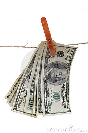 Us dollars hanging on rope
