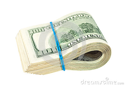 US dollars wrapped by rubber