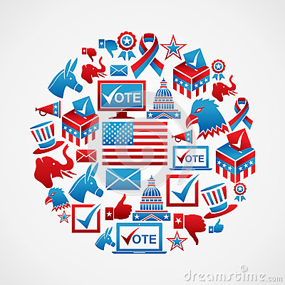 US elections icons circle Editorial Photography