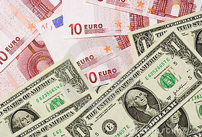 US and Euro currencies