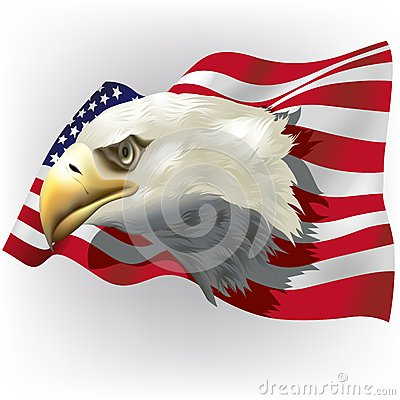 US Flag with Bald Eagle Head