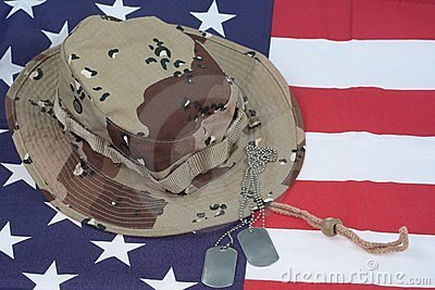 US Flag with Camouflage Combat Hat and Dog Tags