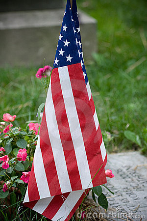 US Flag in cemetery