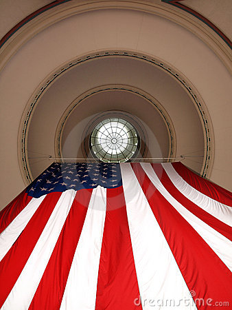 US Flag Hanging from Dome