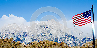 US Flag with Mount Whitney and Lone Pine mountains