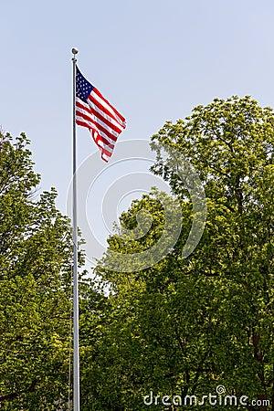 Free US Flag On Tall Flag Pole Royalty Free Stock Photos - 24798428