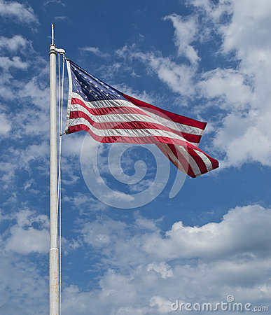 US Flag with Sky and Clouds