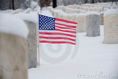 US flag on veteran grave