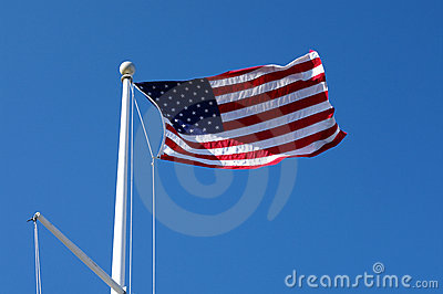 US Flag Waving in the Sky