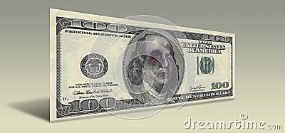 US Hundred Dollar bill with Beaten Franklin