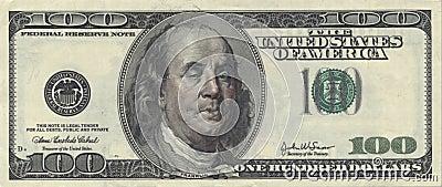 US Hundred Dollar bill with Drunken Ben