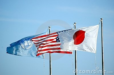 US Japan and UN Flag