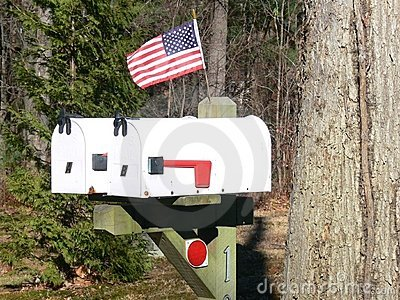 US mail boxes with flag