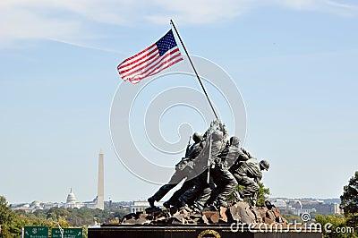 US Marine Corps War Memorial Editorial Stock Photo