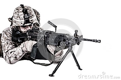 US marine with mashine gun Stock Photo