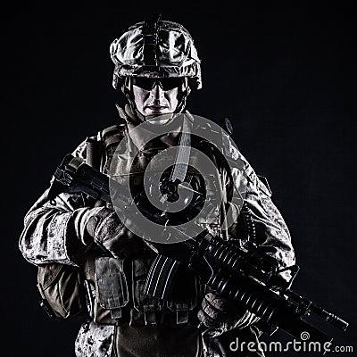 US marine studio shot on black background Stock Photo