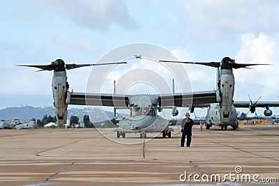 US Marines Osprey plane Editorial Image