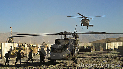 US military helicopter landing Editorial Stock Image