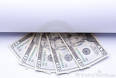 Us money dollar, banknotes under roll of paper