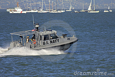 US Navy Armed Speed Patrol Boat Editorial Photo