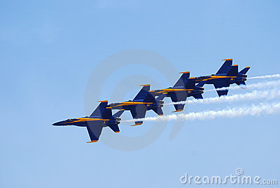 US Navy Blue Angels Delta Formation Editorial Stock Photo