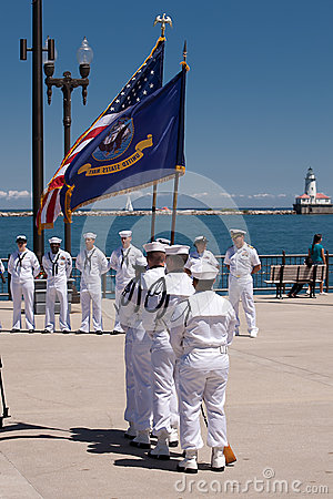US Navy Soldiers at USS Illinois Ceremony Editorial Image