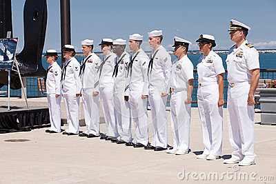 US Navy Soldiers at USS Illinois Ceremony Editorial Photography