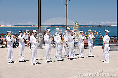 US Navy Soldiers at USS Illinois Ceremony Editorial Photo