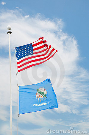 US and Oklahoma flags