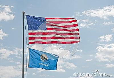 US and Oklahoma flags
